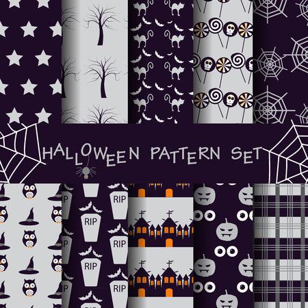 halloween pattern: halloween pattern set Stock Photo