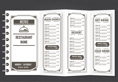 Restaurant Or Cefe Menu Infographics Elements Vintage Retro Stock