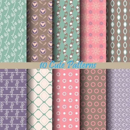 fabric pattern: 10 patterns, vector Endless texture can be used for wallpaper, pattern fills, web page,background,surface