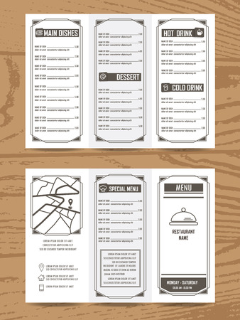 a4: restaurant or cafe menu, infographics elements vintage retro design. Can be used for background, card, layout, banner, web design, brochure template. Vector illustration in A4 size Tri fold
