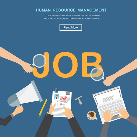 recruitment icon: human resource or HR management infographics element and background. recruitment process. Can be used for statistic , business data, web design, info chart, brochure template. vector illustration Illustration