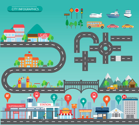 carretera: Infograf�a de la ciudad de fondo y los elementos, hay pueblo, edificio, camino, parque, transporte, puede ser utilizado para el dise�o web, gr�fico de informaci�n, plantilla de folleto. ilustraci�n vectorial Vectores