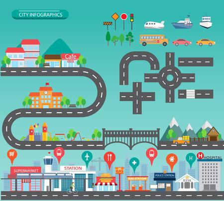 Stadtinfografiken und Hintergrundelemente gibt es Dorf, Gebäude, Straßen, Parks, Transport, Kann für Web-Design, Info-Chart, Broschüre Vorlage verwendet werden. Vektor-Illustration