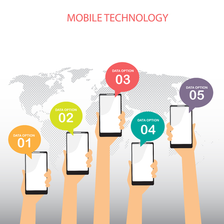 mobile advertising: mobile connection infographics element and background. social media icon. Can be used for business data, web design, brochure template, advertising. text can be added. vector illustration
