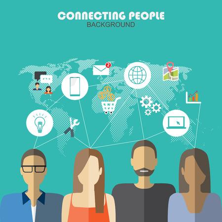 Connexion mobile infographie de médias sociaux de l'élément et le fond. sociale icône du support. Peut être utilisé pour des données d'entreprise, conception de sites Web, la brochure modèle. le texte peut être ajouté. illustration vectorielle Banque d'images - 44491507