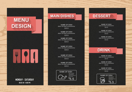 menu: restaurant menu, infographics background and elements. pink on blackboard design. Can be used for  layout, banner, web design, brochure template. Vector illustration Illustration