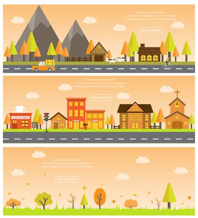 mountain landscape: autumn cityscape of beautiful natural landscapes. Can be used for statistic , business data, one page web design, info chart, brochure template. vector  illustration