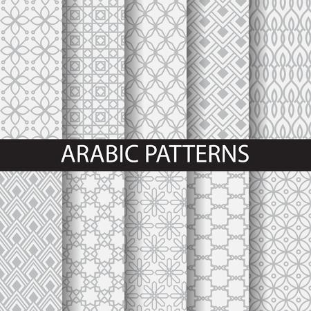 10 arabische patronen, patroonstalen, vector, kan Endless textuur worden gebruikt voor behang, patroonvullingen, webpagina achtergrond, oppervlaktestructuren Stock Illustratie