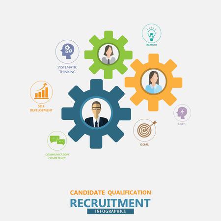 human resource of HR management infographics element en achtergrond. wervingsproces. Kan gebruikt worden voor statistische, zakelijke gegevens, webdesign, info grafiek, brochure sjabloon. vector illustratie Stock Illustratie