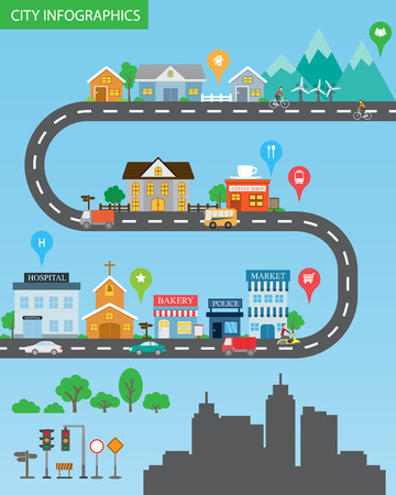 carretera: Infograf�a de la ciudad de fondo y los elementos, hay pueblo, edificio, carretera, transporte, se puede utilizar para la estad�stica, los datos de negocio, dise�o de p�ginas web, informaci�n gr�fica, plantilla de folleto. ilustraci�n vectorial Vectores
