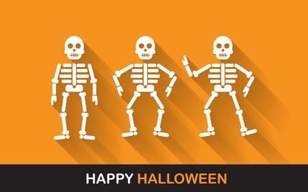 esqueleto: Halloween cartel, pancarta o fondo para la noche de Halloween Party Foto de archivo