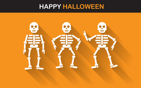 skeleton cartoon: halloween Poster, banner or background for Halloween Party night