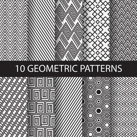 lineas rectas: 10 diferentes patrones de rayas en blanco y negro, Muestras, vector, textura sin fin se puede utilizar para el papel pintado, patrones de relleno, página web, fondo, superficie. ilustración vectorial Vectores