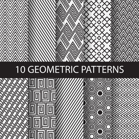 10 verschiedene Schwarzweiss-Streifen-Muster, Farbfelder, Vektor, Endless Textur kann für Tapeten, Muster füllt, Web-Seite, Hintergrund, Oberflächen. Vektor-Illustration