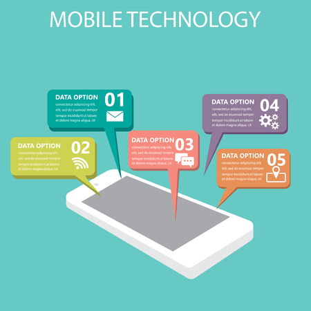 mobile marketing: mobile connection infographics element and background. social media icon. Can be used for business data, web design, brochure template, advertising. text can be added. vector illustration