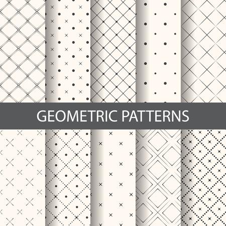 10 verschillende ruitpatronen, eindeloze textuur kan worden gebruikt voor behang, opvulpatronen, webpagina-achtergrond, oppervlaktestructuren.