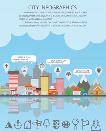 estadistica: Infografía de la ciudad de fondo y los elementos, hay pueblo, edificio, carretera, transporte, se puede utilizar para la estadística, los datos de negocio, diseño de páginas web, información gráfica, plantilla de folleto. ilustración vectorial Vectores