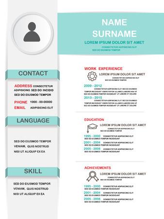 resume (cv) template infographics achtergrond en element, kan worden gebruikt voor persoonlijke statistiek, human resource data, sollicitatiegesprek, webdesign, info grafiek. vector illustratie Vector Illustratie