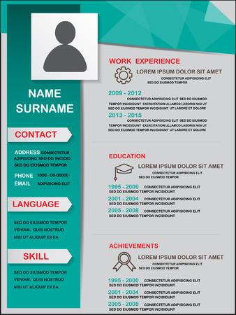 company person: resume design template, vector Illustration