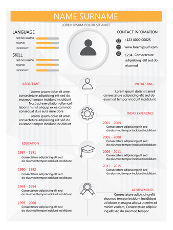 vitae: resume (cv) template infographics background and element,  Can be used for personal statistic , human resource data, job interview, web design, info chart. vector illustration