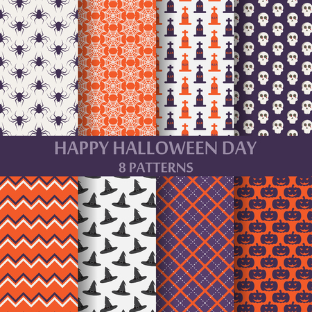 patterns vector: different halloween vector patterns. Endless texture can be used for wallpaper, pattern fills, web page,background,surface