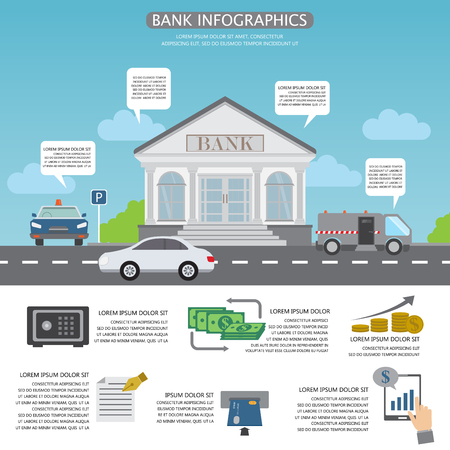 banking concept: banking infographics background and elements. Can be used for business data, web design, brochure template, background. vector illustration.