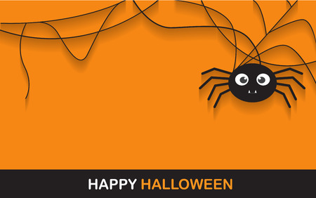 black background abstract: halloween spider concept.  banner background for Halloween Party night Illustration