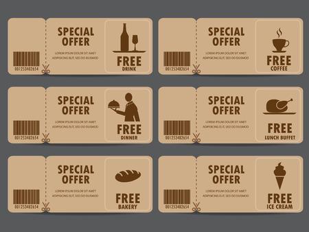 cadeaubon certificaat coupon, voedsel menu en visitekaartje, markeringen element sjabloon. kan worden gebruikt voor zakelijke winkelen kaart, de klant verkoop en promotie, lay-out, banner, web design. vector