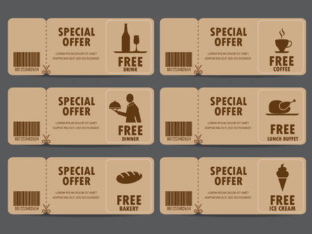 discount coupon: gift voucher certificate coupon, food menu and business card, tags element template. can be use for business shopping card, customer sale and promotion, layout, banner, web design. vector