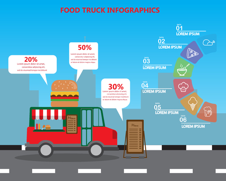 fast food restaurant: fast food on truck, small business concept,  infographics elements and  background. Can be used for   statistic , business data, web design, info chart, brochure template. vector illustration