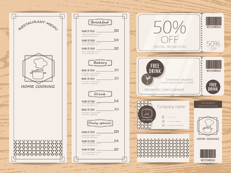 restaurant, bistro and cafe menu, business card, tag and gift voucher coupon  design. background and elements. Can be used for layout, banner, web design, brochure template. Vector illustration Illustration