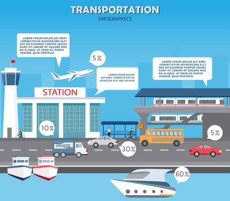 city traffic: transportation, shipping and city traffic infographics element. can be used for workflow layout, diagram, web design, banner template. Vector illustration Illustration
