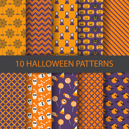 halloween cartoon: 10 different halloween vector patterns. Endless texture can be used for wallpaper, pattern fills, web page,background,surface Illustration