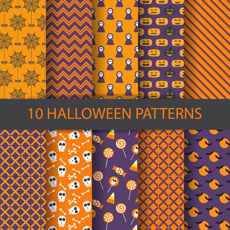 calabazas de halloween: 10 patrones diferentes de vectores de halloween. Textura sin fin se puede utilizar para el papel pintado, patrones de relleno, página web, fondo, superficie