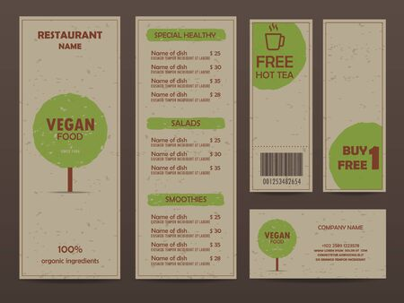 vegetarians: gift voucher certificate coupon, food menu and business card, tags element template. can be use for business shopping card, customer sale and promotion, layout, banner, web design. vector