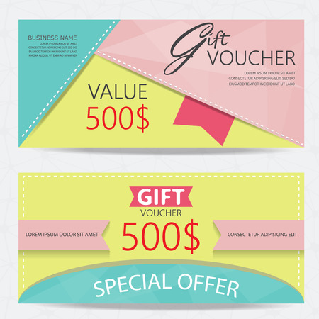 gift voucher certificate coupon template, cute and modern style design for girl and woman. can be use for business shopping card, customer sale and promotion, layout, banner, web design. vector