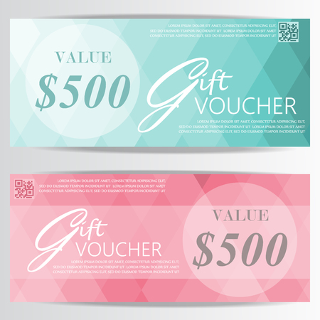 blank check: gift voucher certificate coupon template, luxury and premium style design . can be use for business shopping card, customer sale and promotion, layout, banner, web design. vector illustration