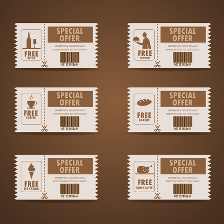 price tag: gift voucher certificate coupon, food menu and business card, tags element template. can be use for business shopping card, customer sale and promotion, layout, banner, web design. vector