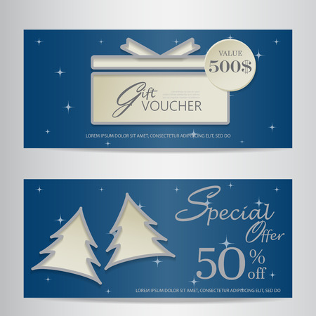 financial year: blue christmas and new year gift voucher certificate coupon template. can be use for business shopping card, customer sale and promotion, layout, banner, web design. vector  illustration