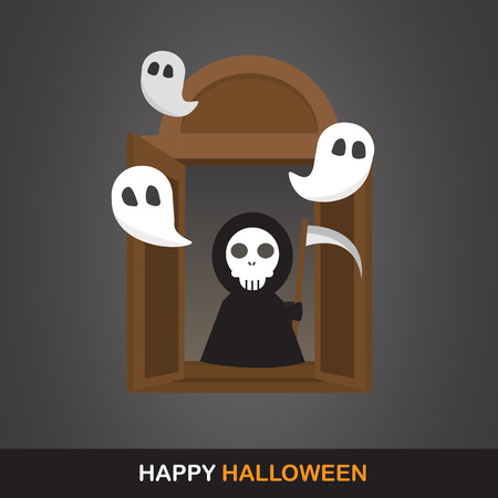 halloween kids: flat design for halloween. can be use for background,  banner, party night greeting card, and one page website design template. vector illustration