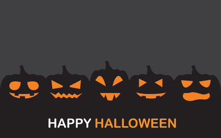 Pumpkin face flat design for halloween.  can be use for background,  banner, Party night  greeting card, and web page design. vector illustration