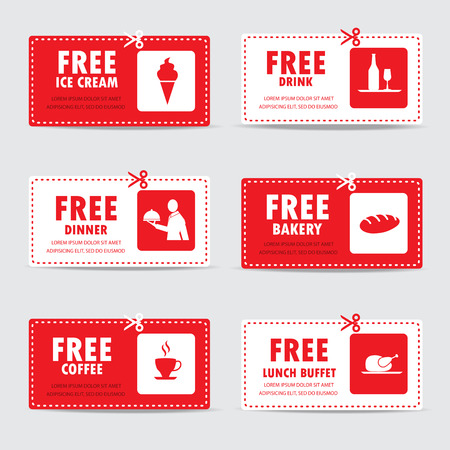 coupons: gift voucher certificate coupon, food menu and business card, tags element template. can be use for business shopping card, customer sale and promotion, layout, banner, web design. vector illustration