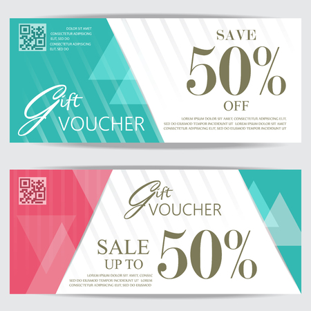gift shop: gift voucher certificate coupon template, cute and modern style. can be use for business shopping card, customer sale and promotion, layout, banner, web design. vector illustration Illustration