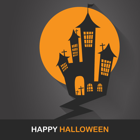 horror castle: flat design for halloween. horror castle concept. can be use for background,  banner, party night greeting card, and one page website design template. vector illustration Illustration