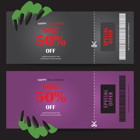 black art: halloween gift voucher certificate coupon, mo invitation party card, background, web page design template. vector illustration; Illustration