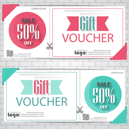 coupon: gift voucher certificate coupon template, cute and modern style. can be use for business shopping card, customer sale and promotion, layout, banner, web design. vector illustration Illustration