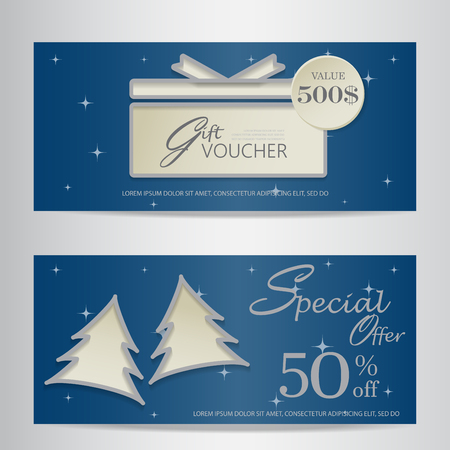 blue gift box: blue christmas and new year gift voucher certificate coupon template. can be use for business shopping card, customer sale and promotion, layout, banner, web design. vector  illustration