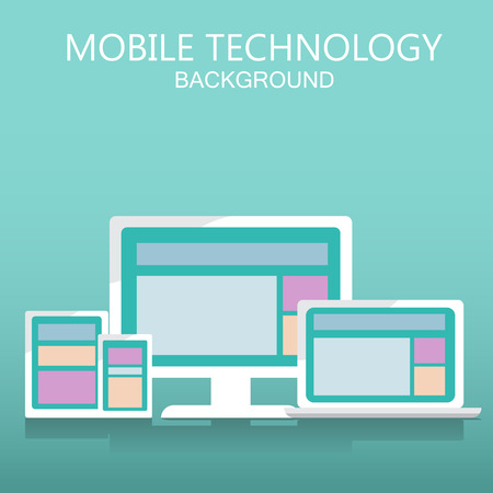 old poster: mobile and notebook technology background. Can be used for business data, web design, brochure template, advertising. text can be added. vector illustration Illustration