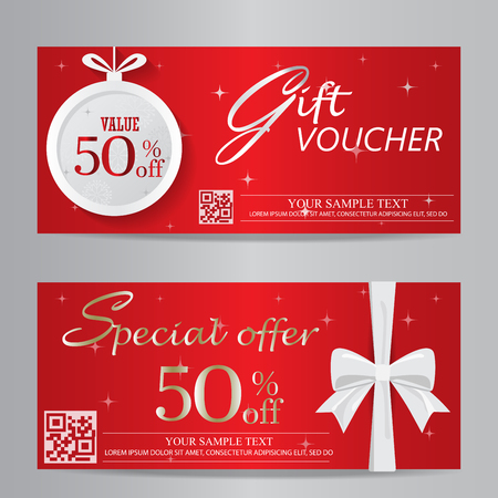 gift shop: red christmas and new year gift voucher certificate coupon template. can be use for business shopping card, customer sale and promotion, layout, banner, web design. vector  illustration