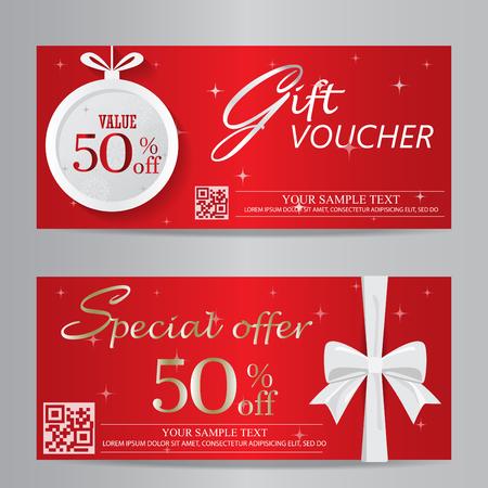 rode kerst en Nieuwjaar cadeaubon certificaat coupon template. kan worden gebruikt voor het bedrijfsleven winkelen kaart, de klant verkoop en promotie, lay-out, banner, web design. vector illustratie Stock Illustratie